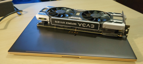 video card on top of the laptop.  The GPU is gigantic compared to an ultralight laptop!